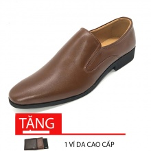 Giày lười công sở nam da bò nguyên miếng N1101MN(nâu) Lucacy-Tặng ví da cao cấp