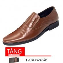 Giày lười công sở nam da bò cao cấp N1621M(nâu) Lucacy-Tặng ví da cao cấp