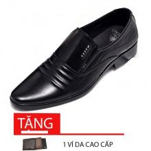 Giày lười nam công sở da bò nguyên tấm cao cấp N1621M (đen) Lucacy - tặng ví da cao cấp
