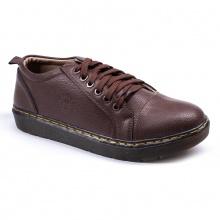 Giày boot nam ngắn cổ đế khâu màu nâu da sần phong cách - m92