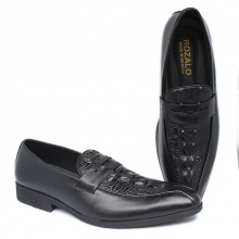 Giày tây công sở kiểu lười da bò vân cá sấu Rozalo R8836