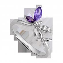 Nhẫn bạc đính đá màu tím PNJSilver Fantasia ZTXMK000098