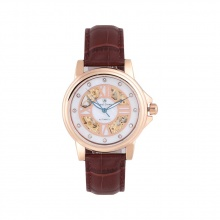 Đồng hồ nam chính hãng Royal Crown 8450M dây da nâu vỏ vàng hồng