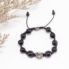 Vòng tay đá thạch anh đen phối phật di lặc bạc (10mm) Ngọc Quý Gemstones