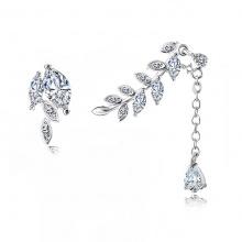 Bông tai nữ mạ bạc bất đối xứng chiếc lá đính đá lấp lánh - Tatiana - BB2797 (Bạc)