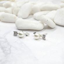 Bông tai nữ mạ bạc mũi tên tình yêu đính ngọc trai lấp lánh -Tatiana - BB3391 (Bạc)