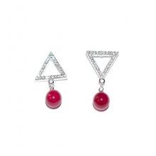 Bông tai bất đối xứng đá zircon triangle mix pearl - Tatiana - BB3360 (đỏ)
