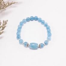 Vòng tay đá hải lam ngọc phối lu thống (8mm) Ngọc Quý Gemstones