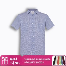 Áo sơ mi nam tay ngắn họa tiết The Shirts Studio Hàn Quốc TD13F2394BL