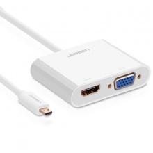 Cáp chuyển Micro HDMI sang HDMI VGA Ugreen 30354 với Jack Audio 3.5mm cho Ultrabook, điện thoại