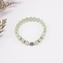 Vòng tay thạch anh xanh phối charm lục tự bạc (7mm) Ngọc Quý Gemstones