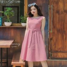Đầm chấm bi thắt eo vintage - ad190026