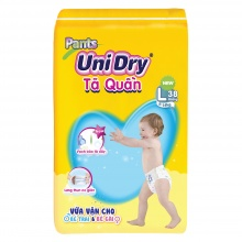 Bỉm tã quần Unidry size L38 thích hợp với bé cân nặng từ 9 đến 14 kg