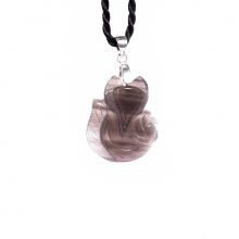 Mặt dây chuyền hồ ly ôm hoa mẫu đơn đá obsdian PDFOBS01 - VietGemStones