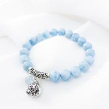 Vòng tay mệnh thủy, mộc đá Aquamarine mix charm con voi