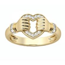 Nhẫn nữ đá kim cương nhân tạo mạ vàng 14k hình trái tim - NNU200