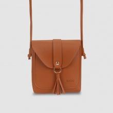 Túi đeo chéo nữ phom vuông nắp gập phối dây tua rua Idigo FB2-135-00