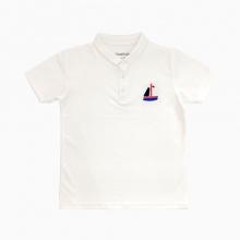 Áo thun bé trai thêu thuyền Vinakids màu trắng (7-12 tuổi)
