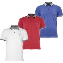 Bộ 3 áo thun nam cổ bẻ phối bo phù họp mọi lứa tuổi  Pigofashion AHT08 Trắng, đỏ ,xanh da
