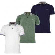 Bộ 3 áo thun nam cổ bẻ phối bo phù họp mọi lứa tuổi  Pigofashion AHT08 Rêu, trắng, xanh đen