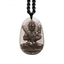 Mặt dây chuyền Hư Không Tạng Bồ Tát đá Thạch anh khói Smoky Quartz - Phật độ mạng cho người tuổi Sửu, Dần size lớn PBMSMO02B|VietGemstones