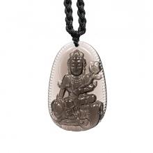 Mặt dây chuyền Phổ Hiền Bồ Tát đá thạch anh khói Smoky Quartz - Vị Phật Độ Mạng cho người tuổi Thìn, Tỵ size lớn PBMSMO04B | VietGemstones