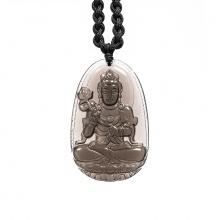 Mặt dây chuyền Đại Thế Chí Bồ Tát đá thạch anh khói Smoky Quartz - Vị Phật Độ Mạng cho người tuổi Ngọ size lớn PBMSMO05B | VietGemstones