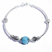 Lắc tay bạc phối đá hải lam ngọc Aquamarine BRAQU08M04 - VietGemstones