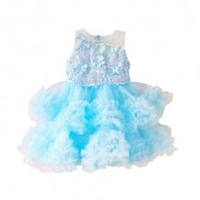 Váy ren bồng sát nách Vinakids màu xanh (3-10 Tuổi)