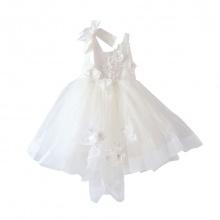 Váy ren bồng hai dây đính hoa Vinakids màu trắng (3-10 Tuổi)