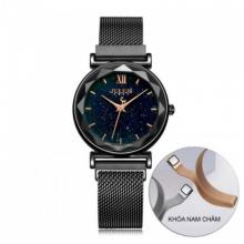Đồng hồ nữ dây khóa nam châm chính hãng Julius Hàn Quốc JA-1172D (Đen)