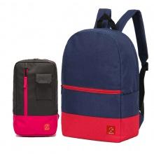 Combo balo du lịch Glado classical BLL007 (màu xanh phối đỏ) và túi đeo chéo GEX002 (màu đen phối đỏ)