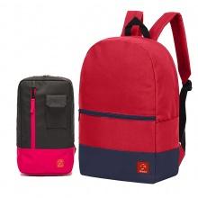 Combo balo du lịch Glado classical BLL007 (màu đỏ phối xanh) và túi đeo chéo GEX002 (màu đen phối đỏ)