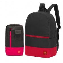 Combo balo du lịch Glado classical BLL007 (màu đen phối đỏ) và túi đeo chéo GEX002 (màu đen phối đỏ)