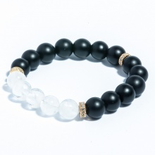 Vòng tay đá thiền Obsidian mix Thạch anh ưu linh trắng và charm bạc BOBSS03 - VietGemstones