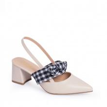 Giày nữ, giày cao gót slingback phối nơ hở gót cao 5cm erosska _ EH028 (NU)