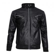 Áo khoác da nam lót lông thu đông VKXK BD95 - Đen
