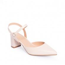 Giày nữ, giày cao gót kitten heels erosska mũi nhọn phối dây hở gót cao 5cm EK001 (màu nude)