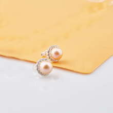 Opal - Hoa tai bạc đính ngọc trai tự nhiên hồng_T09