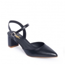 Giày nữ, giày cao gót kitten heels erosska mũi nhọn phối dây hở gót cao 5cm EK001 (màu đen)