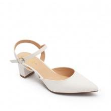 Giày nữ, giày cao gót kitten heels erosska mũi nhọn phối dây hở gót cao 5cm _ EK001 (WH)