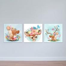 """Bộ 3 tranh cho trẻ em """"Nai nhỏ và hoa"""" - tranh phòng em bé W3387"""