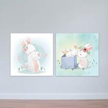 """Bộ 2 tranh cho trẻ em """"Thỏ mẹ và các con"""" tranh phòng em bé W3386"""