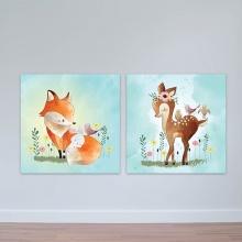 """Bộ 2 tranh cho trẻ em """"Bambi và các bạn"""" tranh phòng em bé W3385"""