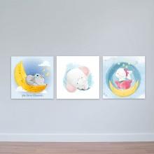 """Bộ 3 tranh cho trẻ em """"Ngủ ngoan em nhé"""" tranh phòng em bé W3381"""