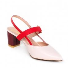 Giày nữ, giày cao gót kitten heel erosska đế vuông cao 5cm phối dây đỏ - EH001 (NU)