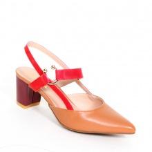Giày nữ, giày cao gót kitten heel Erosska đế vuông cao 5cm phối dây dỏ - EH001 (BR)