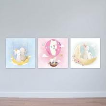 """Bộ 3 tranh cho trẻ em """"Gia đình thỏ"""" - tranh trang trí phòng ngủ em bé W3376"""