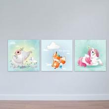 """Bộ 3 tranh cho trẻ em """"Voi, cáo và kỳ lân"""" - tranh trang trí phòng ngủ em bé W3375"""