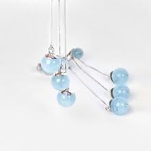 Bông tai nữ bạch kim đính đá Aquamarine - Ngọc Quý Gemstones